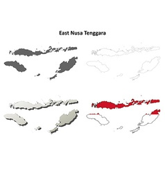 East Nusa Tenggara outline map set vector image vector image