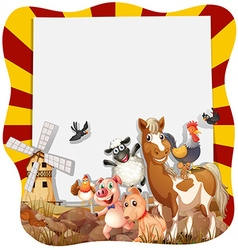 Farm animals around the frame vector image vector image