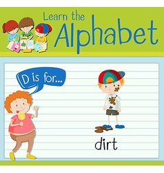 Flashcard letter D is for dirt vector image