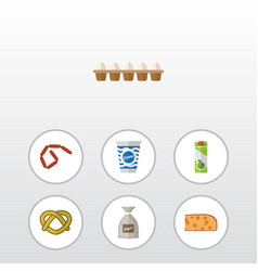 Flat icon food set of cookie eggshell box vector