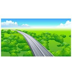 Flyover over green landscape vector
