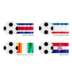 Football with Costa Rica Crimea Ivory Coast Flag vector image