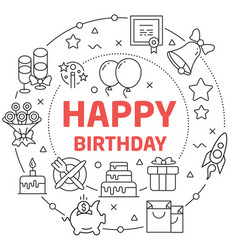 happy birthday linear vector image