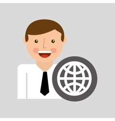 Happy man icon globe social network design vector