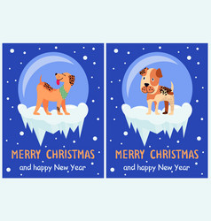 merry christmas and happy new year doggy congrats vector image vector image
