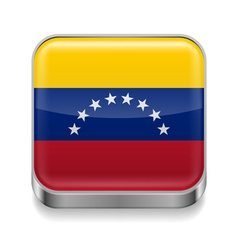 Metal icon of venezuela vector