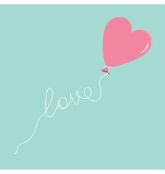 Pink balloon in shape of heart with love thread vector