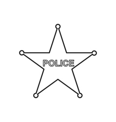 Police star outline icon linear vector