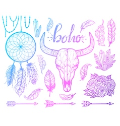 Set of boho elements bull skull native americans vector