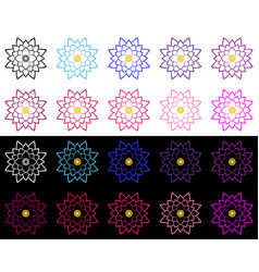 set of lotuses performed a thin stroke vector image
