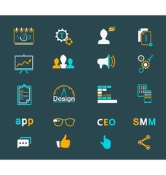 Set of modern icons app seo smm vector image vector image