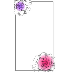Smartphone photo frame black ink peony flower vector