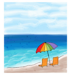Umbrella and chairs at the sea shore and the sea vector