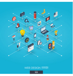 Web development integrated 3d icons digital vector