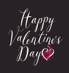 White inscription happy valentines day with hearts vector