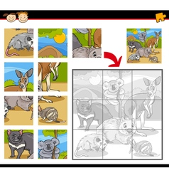 wild animals jigsaw puzzle game vector image vector image