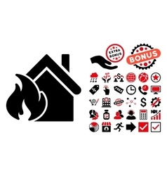 Realty fire disaster flat icon with bonus vector