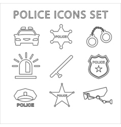 Police outline icons set linear vector