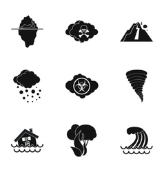 Natural disasters icons set simple style vector image