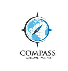Compass and globe logo vector