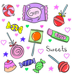 Art of candy object various doodles vector