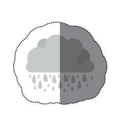 sticker monochrome cumulus cloud with raindrops vector image