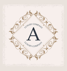 Luxury company a monogram crest frame ornament vector