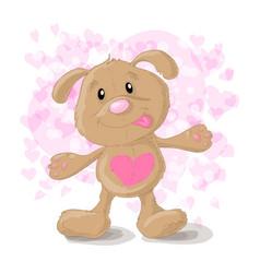 cute cartoon dog with hearts vector image