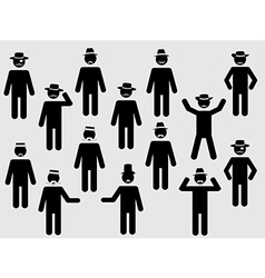 People pictograms with hats and mustache vector