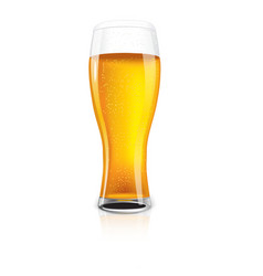 Excellent isolated glass of beer with drops vector