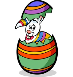 Bunny in easter egg cartoon vector