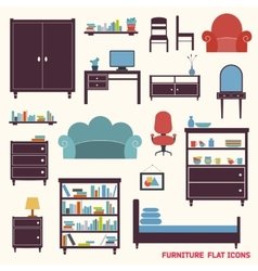 Furniture icons flat vector