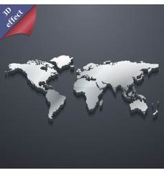 World map icon symbol 3d style trendy modern vector