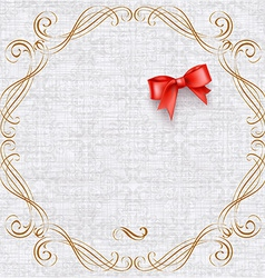 Invitation card with vintage elements and bow vector