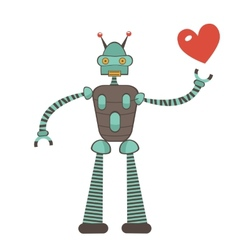 Cute robot in love holding heart vector