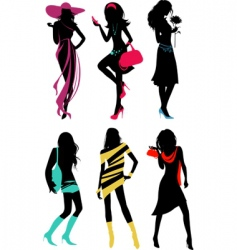 Glam shopping girls vector
