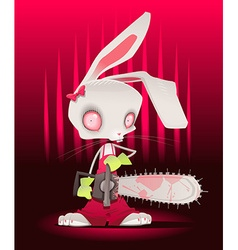 Horror bunny with background vector