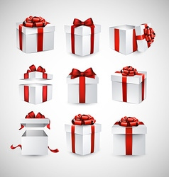 Set of realistic 3d gift boxes vector