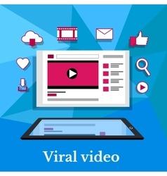 Viral video banner flat design vector