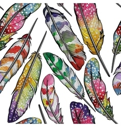 Seamless pattern with abstract colorful feathers vector image