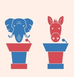 Donkey and elephant as a orators symbols vote of vector