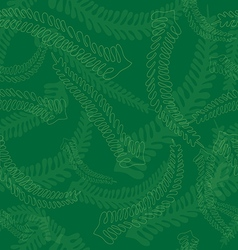 Seamless fern leaves pattern in green colors vector