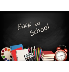 Back to school chalkboard with school supplies vector