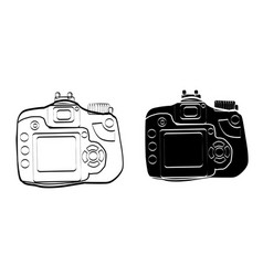 Black and white vintage camera icon art vector