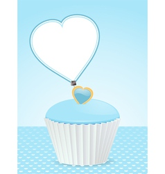 blue cupcake background and message label vector image vector image