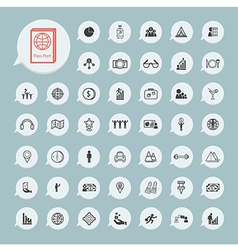 Business icons and itinerary icons set on blue vector