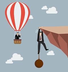 Businessman in hot air balloon fly pass vector