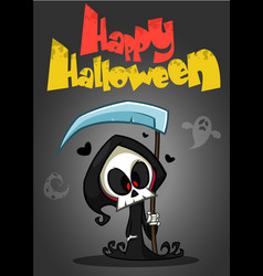 cartoon of spooky halloween death with scythe vector image