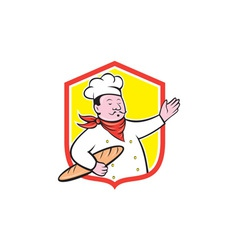 Chef cook holding baguette shield cartoon vector
