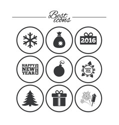christmas new year icons gift box fireworks vector image vector image